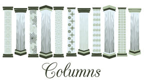 Columns with a pattern. set. Doric, Roman style. Stock Photography