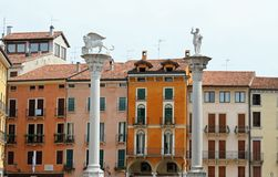 Columns in Piazza dei Signori in vicenza with the lion of San Ma Royalty Free Stock Photos