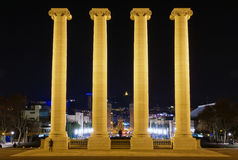Columns on the Placa De Espanya. The National Museum in Barcelona. Spain Stock Images