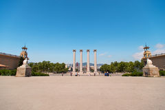 Columns at Plaza de Espana in Barcelona Stock Image