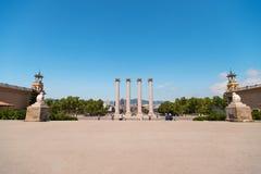 Columns at Plaza de Espana in Barcelona stock image