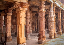 Columns of Quwwat-Ul-Islam mosque, Qutb Minar complex, New Delhi - India Royalty Free Stock Image