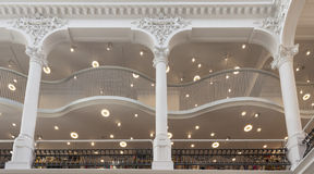 Columns in a restored old building now a library Stock Image