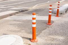 Columns that restrict the movement of vehicles and Parking, bars for limiting the movement, limiters or blocker.  Royalty Free Stock Photo