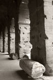 Columns of the Roman Coliseum in BW image, Italy. Architectural detail of the Roman Coliseum in Rome; Lazio; Italy. Pieces of ancient columns near the main Royalty Free Stock Photo