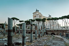 Columns of Roman Forum Rome in Italy Stock Images