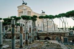 Columns of Roman Forum in Rome of Italy Stock Image