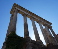 Columns in the Roman Forum, Rome, Italy. The Roman Forum is one of Rome`s most important touristic landmarks Stock Photo