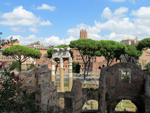 Columns in Roman Forum ruins in Rome Royalty Free Stock Image