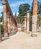 Columns. Of Roman garden in  Emerita Augusta  located in the Spanish city of Merida it´s a vertical picture Stock Photos