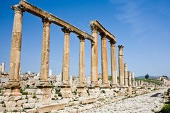 Columns at the Roman ruins in Jerash, Jordan Stock Images