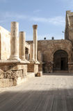 Columns at the Roman theater. In Amman in Jordan, is an image vertically on a sunny day Stock Photos