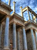 Columns in the Roman Theater in Merida. Detail of columns in the Roman Theater in Merida (Spain royalty free stock image