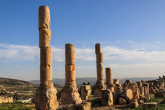 Columns from Roman times. Ruins of Jerash. Stock Photography
