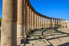 Columns from Roman times. Ruins of Jerash. Royalty Free Stock Photo