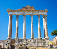 Columns on Rome Forum. Front view royalty free stock photography