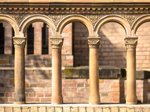Columns in a row with terra cotta ornates Royalty Free Stock Photography
