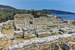 Columns in Ruins of ancient church in Archaeological site of Aliki, Thassos island, Greece Stock Images
