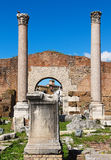 Columns and ruins of  Basilica Aemilia in the Roman forum Stock Photography