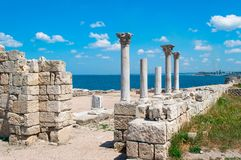 Columns and ruins of Chersonesos Stock Photography
