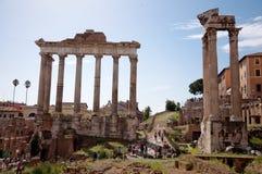 Columns Ruins at foro romano - Roma - Italy. Columns Ruins at foro romano horizontal view - Roma - Italy Stock Photo