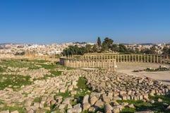 Columns and Ruins of Jerash  City in Jordan Stock Photo