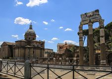 Columns of the ruins of the temple of Venus Genetrix, Rome, Ital stock photos