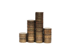 Columns of Russian ruble coins Stock Photography