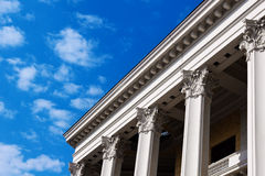 Columns of russian theatre building in Moscow Royalty Free Stock Photos