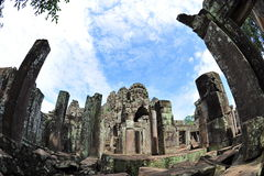 Columns and sculptures of Bayon temple in Cambodia Stock Image