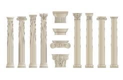 Columns set 1. Set of classic columns with capitels Stock Images