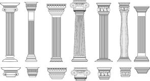 Columns set of 8 Royalty Free Stock Photos