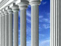 Columns & Sky. Greek columns with the sky in the background Stock Photos