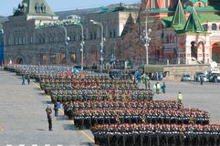 Columns of soldiers after the Victory Parade Stock Photo