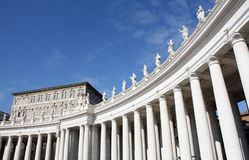 Columns with statue in Vatican Italy daytime Royalty Free Stock Images