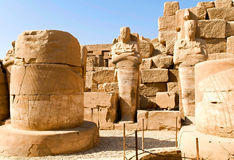 Columns and statues in Karnak temple complex royalty free stock photo