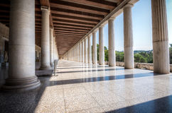 Columns at the Stoa of Attalos in the ancient Agora & x28;Forum& x29; of A. Columns at the Stoa of Attalos in the ancient Agora & x28;Forum& x29; of Royalty Free Stock Photo