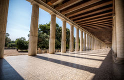 Columns at the Stoa of Attalos in the ancient Agora (Forum) of A Royalty Free Stock Image