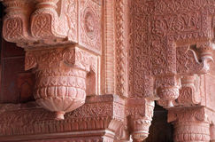 Columns with stone carving in Agra Red Fort. Columns with stone carving in Agra Fort, UNESCO World heritage site in Agra. Uttar Pradesh, India Stock Photos