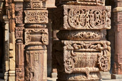 Columns with stone carving Royalty Free Stock Image