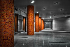 Columns of a subway station Royalty Free Stock Images