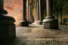 Columns in sunset. Columns at Mont St Mitchel in sunset, high density range image Stock Photo