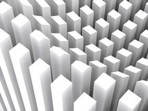 Columns surface diagram, 3d render. Abstract digital background, pattern of white columns surface diagram, 3d render illustration Stock Photo