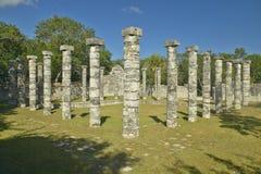 Columns surrounding grassy courtyard for ballgames at Chichen Itza, Mayan Ruins in the Yucatan Peninsula, Mexico Stock Photo