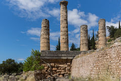 Columns in The Temple of Apollo in Ancient Greek archaeological site of Delphi, Greece Royalty Free Stock Photos