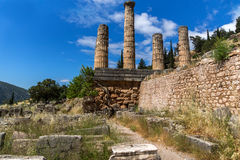 Columns in The Temple of Apollo in Ancient Greek archaeological site of Delphi, Greece Stock Image