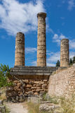 Columns in The Temple of Apollo in Ancient Greek archaeological site of Delphi, Greece Stock Photography