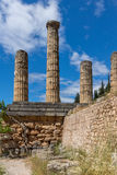 Columns in The Temple of Apollo in Ancient Greek archaeological site of Delphi, Greece Stock Photos