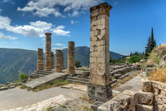 Columns in The Temple of Apollo and panorama Ancient Greek archaeological site of Delphi, Greece Stock Photography