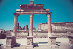 Columns of temple of Apollo in Pompeii Stock Images